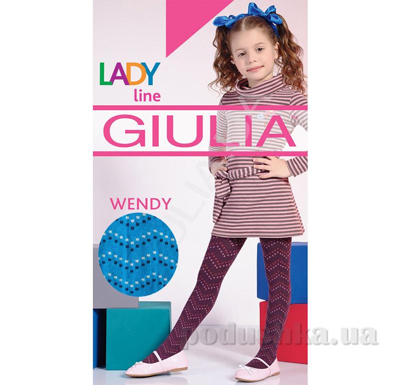 Колготки голубые с рисунком теплые 150 den Wendy Giulia Caribe