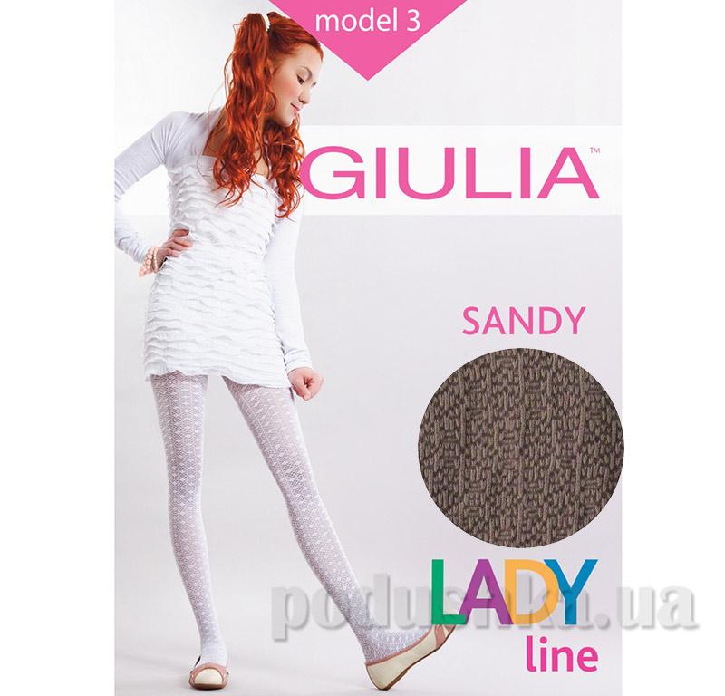 Колготки коричневые ажурные с просветным рисунком 50 den Sandy Giulia Latte