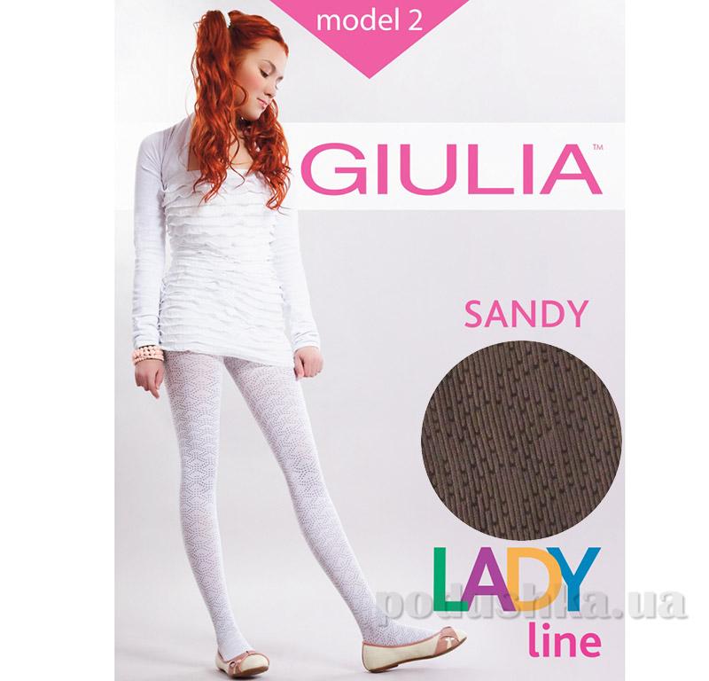Колготки коричневые ажурные с рисунком 50 den Sandy Giulia Latte