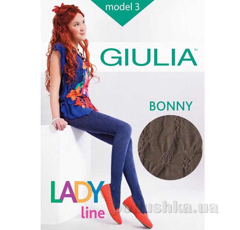Колготки коричневые с кружевным эффектом 60 den Bonny Giulia Latte