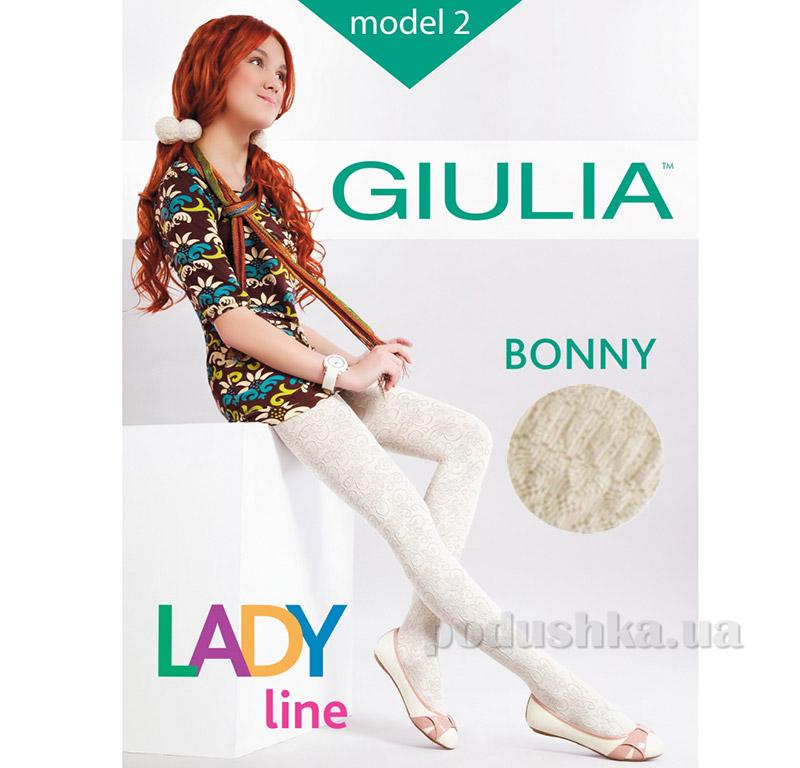 Колготки кремовые для девочки с кружевным эффектом 60 den Bonny Giulia Panna