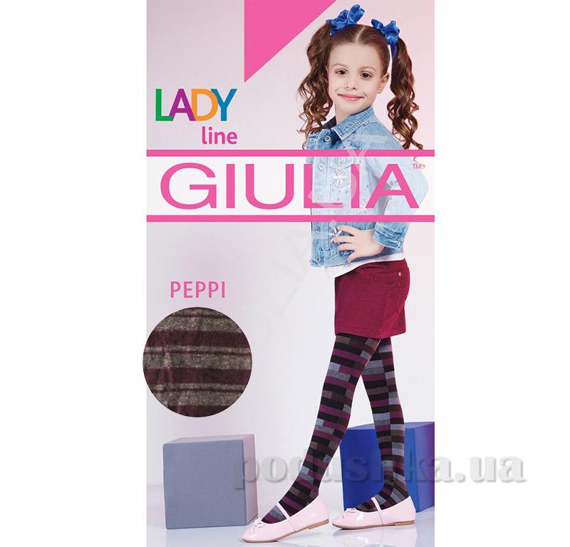 Колготки серо-бордовые в полосочку теплые 200 den Peppy Giulia Royal