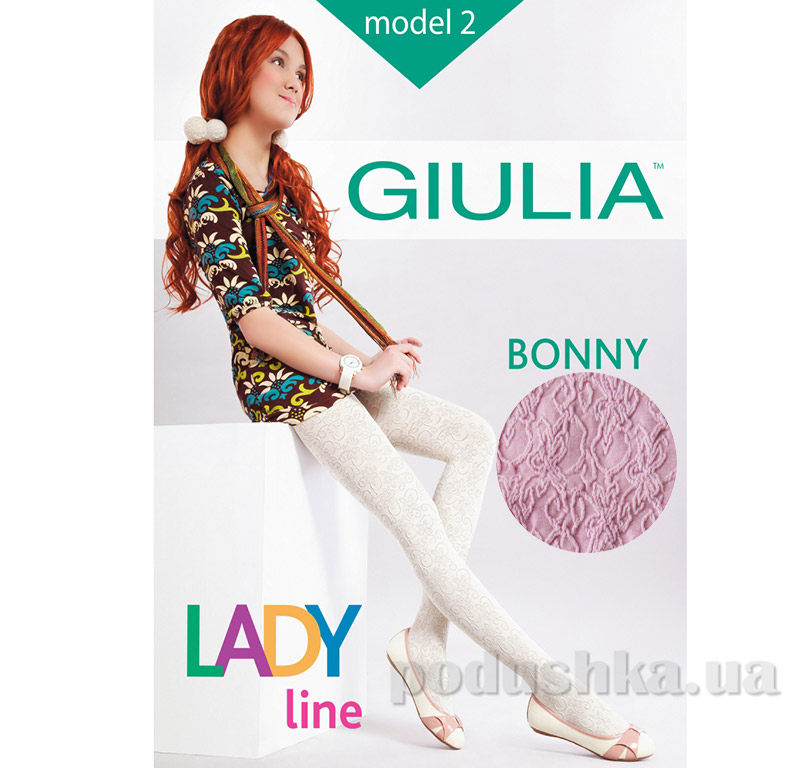 Колготки розовые для девочки с кружевным эффектом 60 den Bonny Giulia Rose