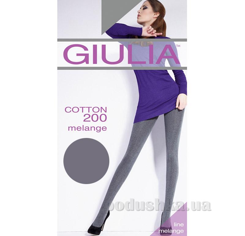 Колготки серые меланжевые 200 Den Giulia Cotone melange Fumo
