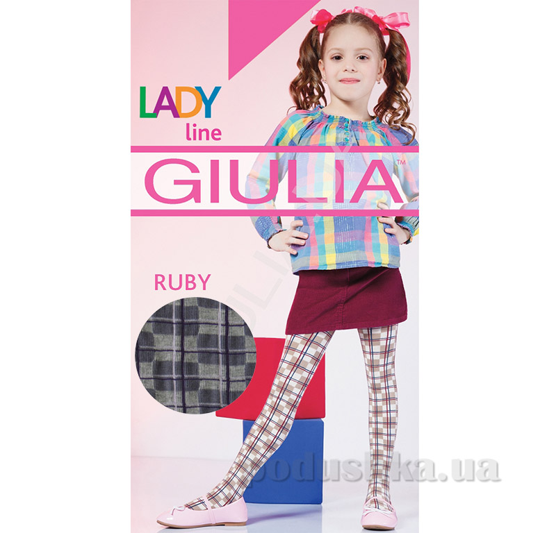 Колготки серые в клетку теплые 150 den Ruby Giulia Grey