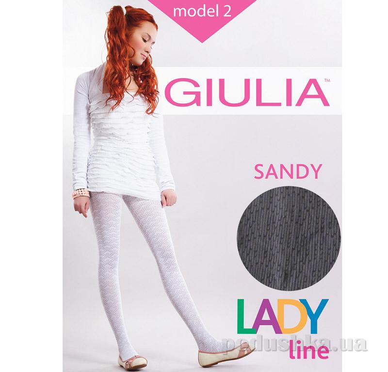Колготки темно-серые ажурные с просветным рисунком 50 den Sandy Giulia Plum