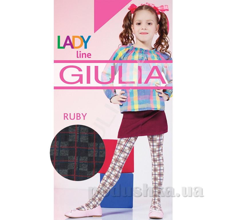 Колготки темно-серые в клетчатый рисунок теплые 150 den Ruby Giulia Fumo