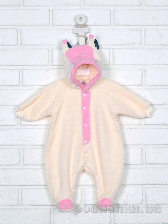 Человечек-комбинезон для новорожденных Татошка 151018 молочный с розовым
