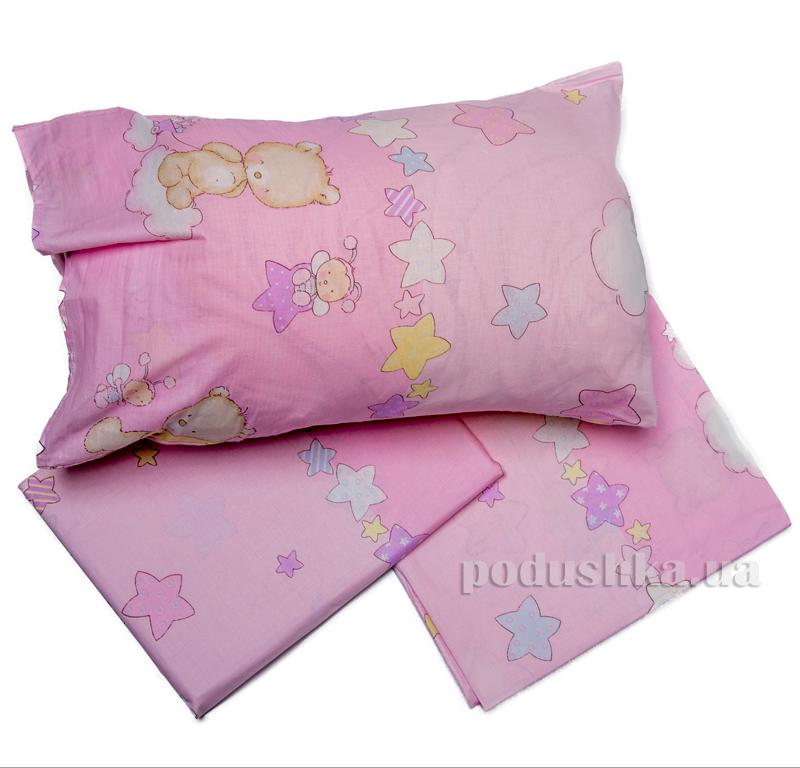 Комплект детского постельного белья Мишка розовый Мiцний сон КПБ ВЕДМЕДИК рожев