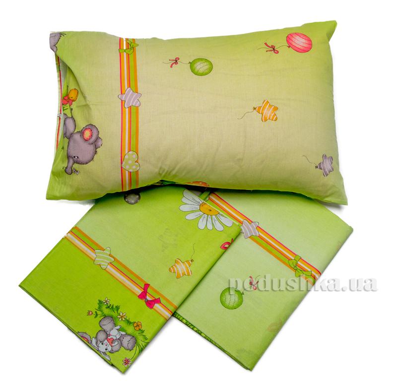 Комплект детского постельного белья Слоник зеленый Мiцний сон КПБ СЛОНИК зелен