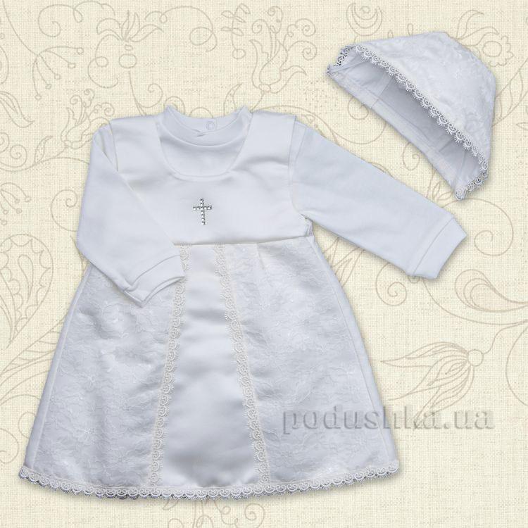 Комплект для крещения девочки Мрия Бетис интерлок-атлас
