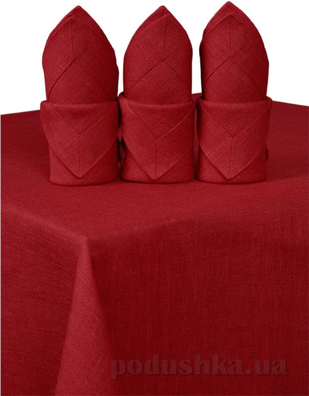 Комплект льняных салфеток Гармония бордовый