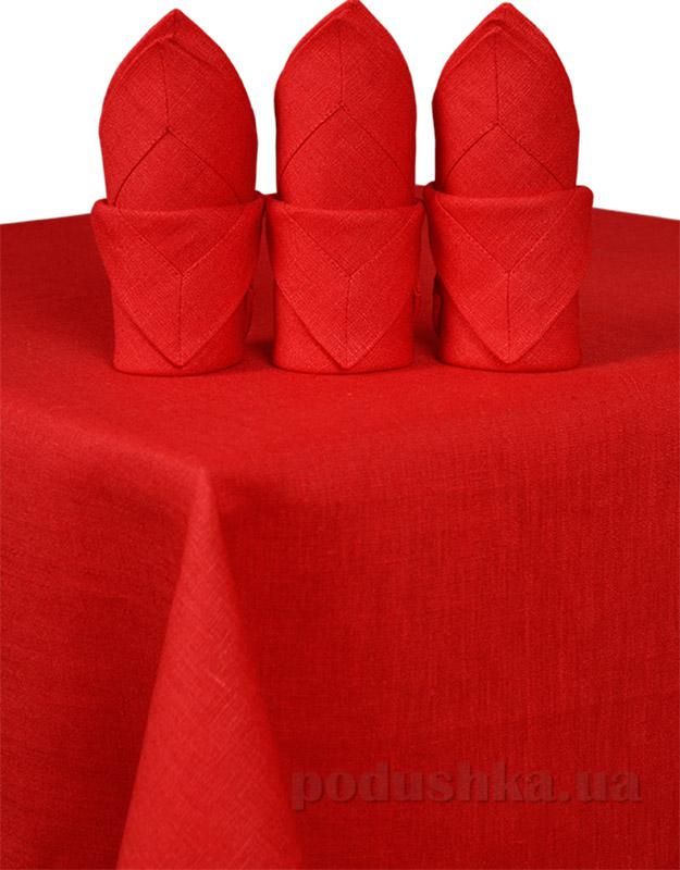 Комплект льняных салфеток Гармония красный