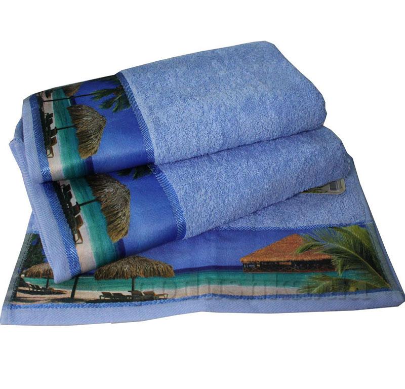 Комплект полотенец Романтика Бали голубой