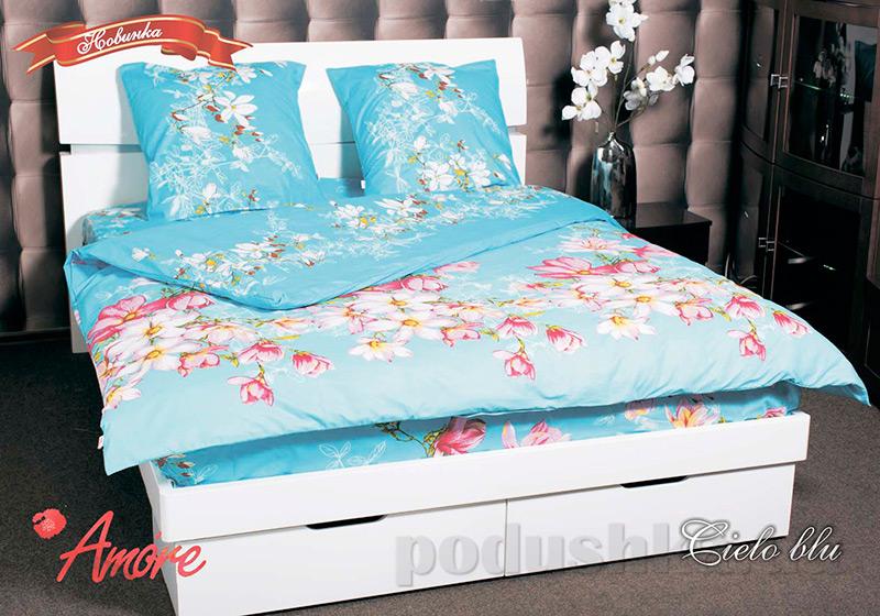 Комплект постельного белья Amore Cielo blu бязь голд