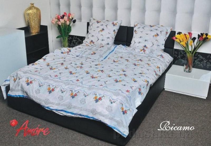 Комплект постельного белья Amore Ricamo бязь Двуспальный евро комплект  Amore