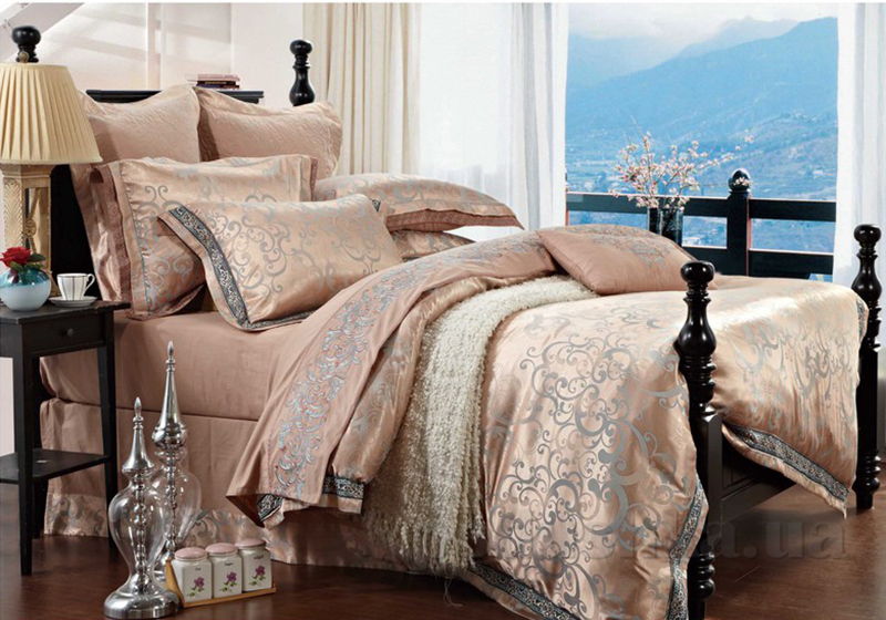Комплект постельного белья Bella Donna J-0007 сатин-жаккард Двуспальный евро комплект  Bella Donna