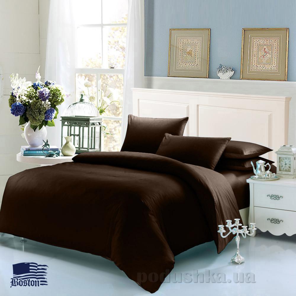 Комплект постельного белья Boston Jefferson Sateen Dark Chocolate темно-коричневый