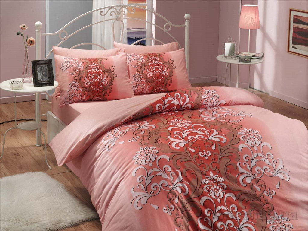 Комплект постельного белья Hobby Ranforce Almeda персиковый
