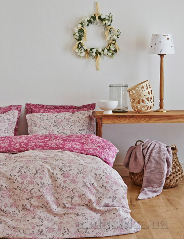 Постельное белье Karaca Fireze розовый Двуспальный евро комплект  Karaca home