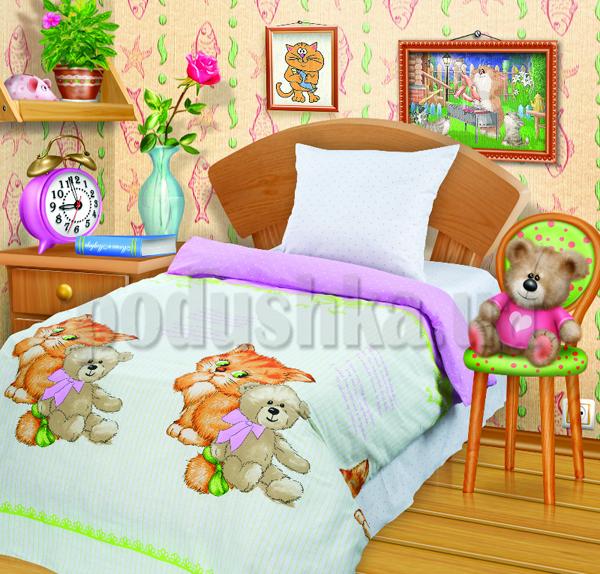 Постельное белье Котенок и мишка