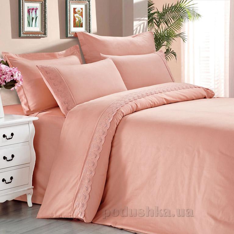 Постельное белье Love You сатин с кружевом светло-розовый