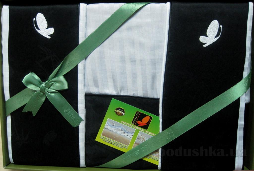 Постельное белье Mariposa Black and white бамбук-жаккард Двуспальный евро комплект с белой простынью Mariposa