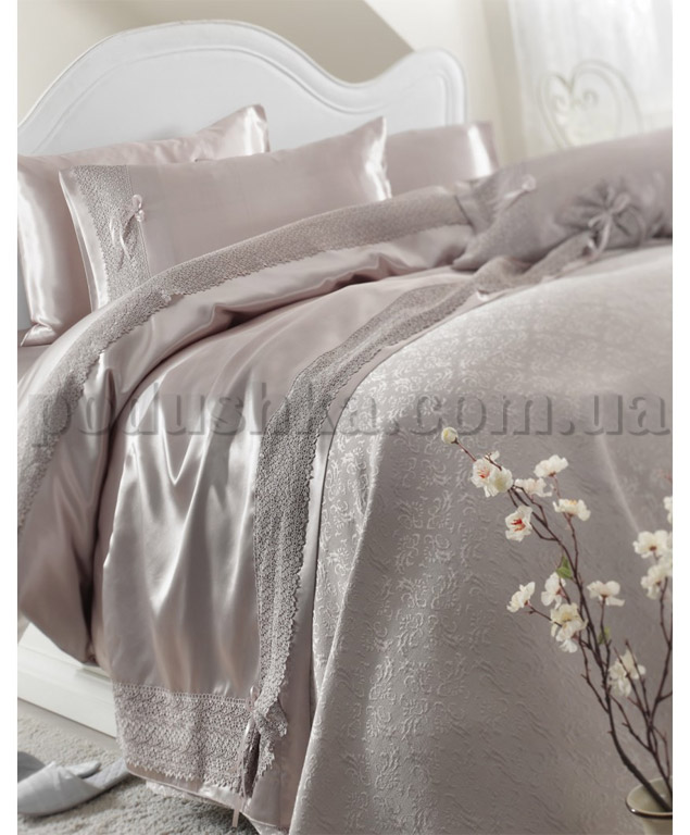 Постельное белье с покрывалом Karaca Tugce серый