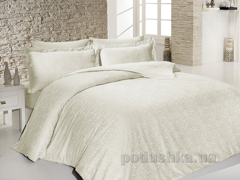 Комплект постельного белья SoundSleep Sarmasik Krem сатин-жаккард кремовый Двуспальный евро комплект  SoundSleep