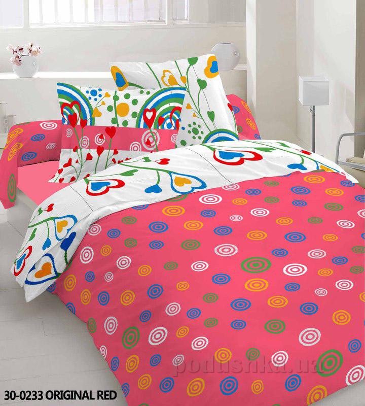 Комплект постельного белья TM Nostra Бязь Эконом красно-белая композиция
