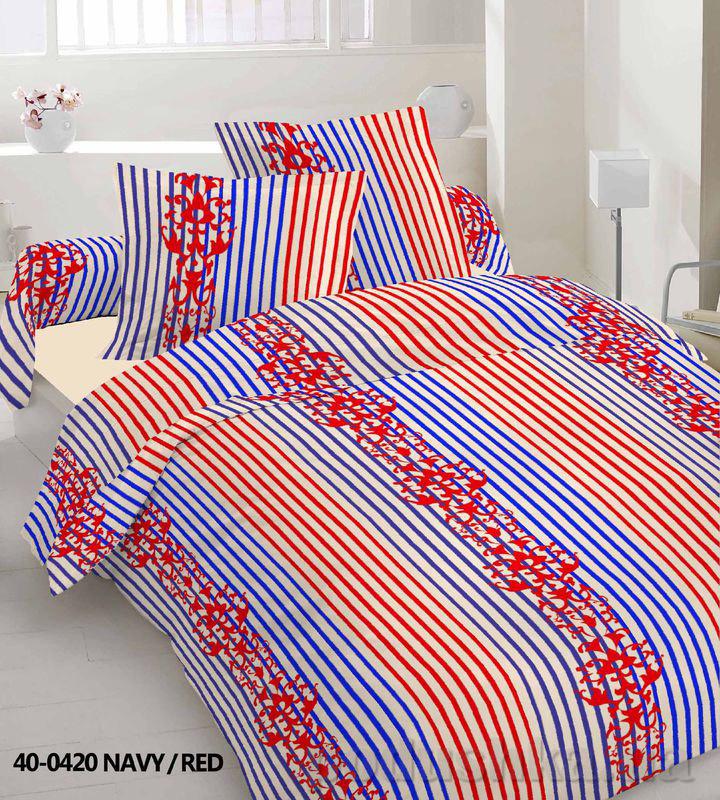 Комплект постельного белья TM Nostra Бязь Эконом сине-красный полоска