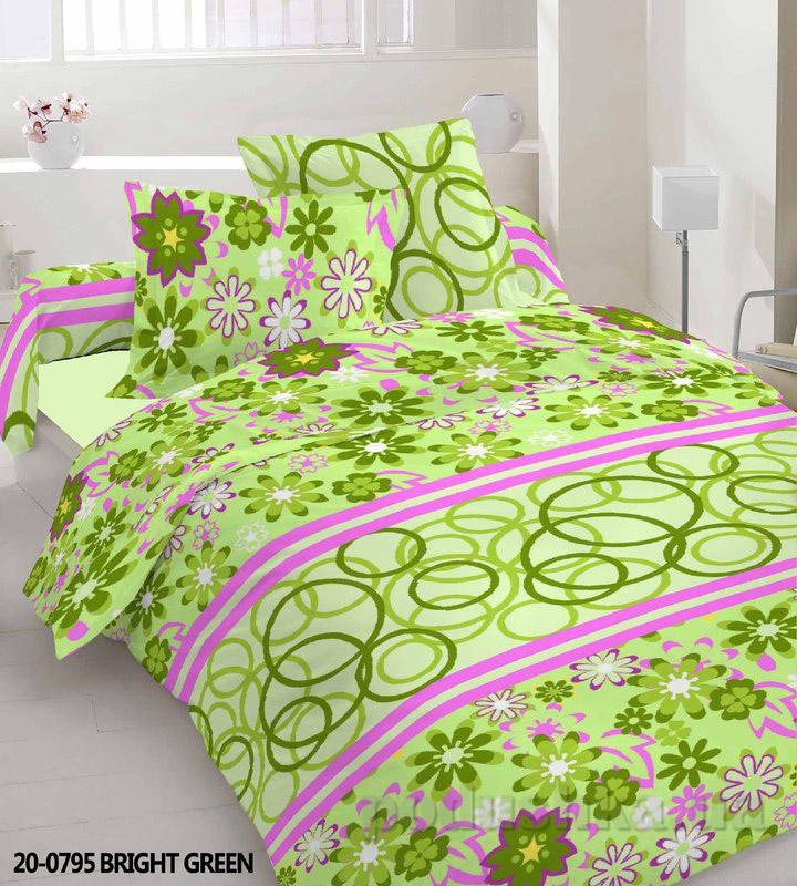 Комплект постельного белья TM Nostra Бязь Эконом зеленый цветы