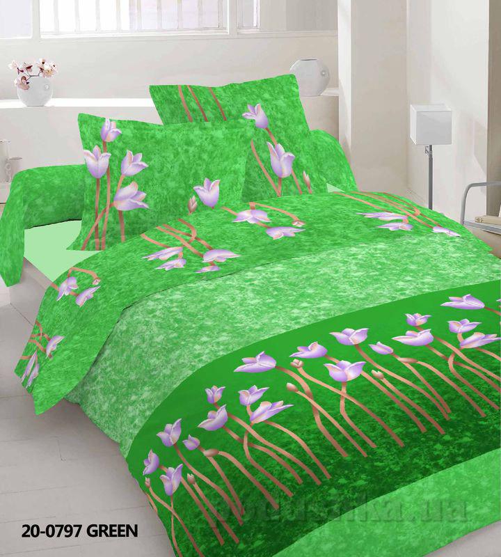 Комплект постельного белья TM Nostra Бязь Эконом зеленый тюльпаны Двуспальный евро комплект  TM Nostra