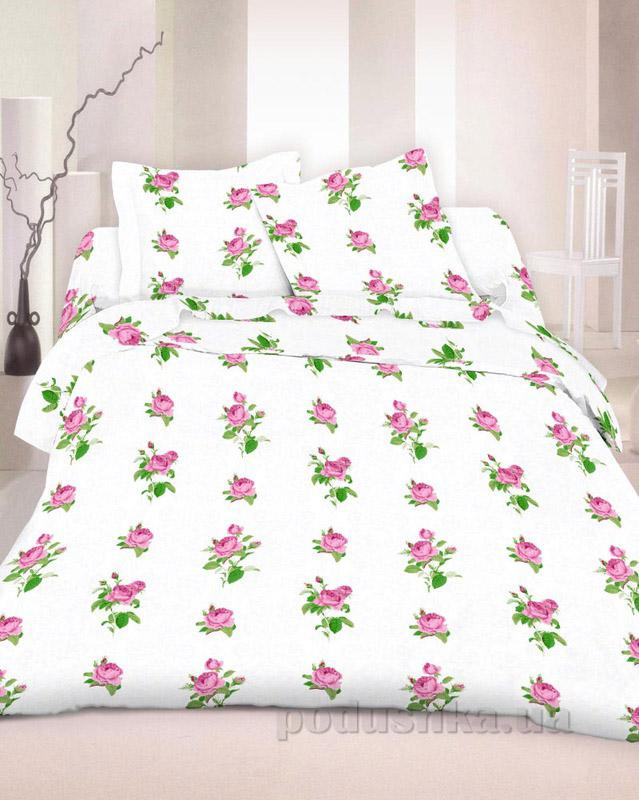 Комплект постельного белья TM Nostra Бязь Голд белый с розами Полуторный комплект  TM Nostra