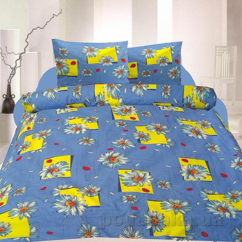Комплект постельного белья TM Nostra Бязь Голд желто-голубой ромашки Двуспальный комплект  TM Nostra