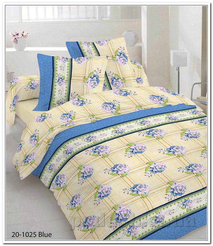 Комплект постельного белья TM Nostra Бязь Голд бежево-синий цветы-клетка Двуспальный комплект  TM Nostra