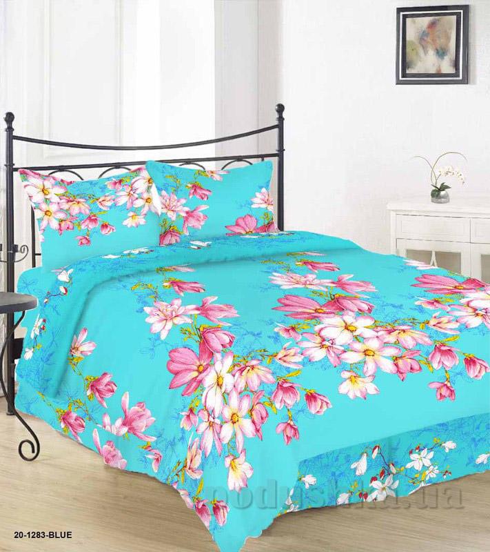 Комплект постельного белья TM Nostra Бязь Голд бирюзово-розовый цветы Семейный комплект  TM Nostra