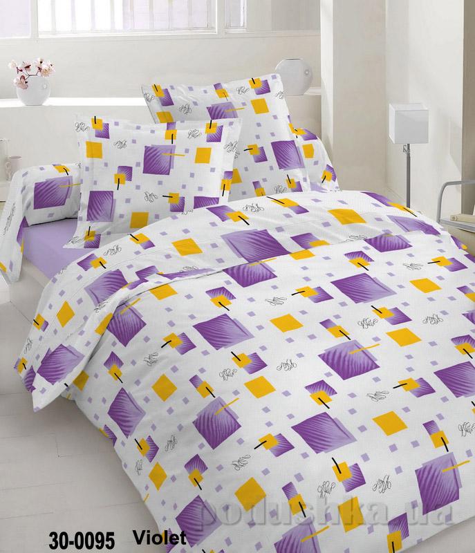 Комплект постельного белья TM Nostra Бязь Голд бело-фиолетовая геометрия