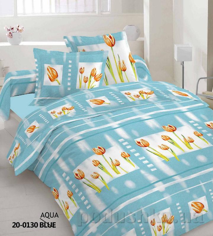 Комплект постельного белья TM Nostra Бязь Голд аква-оранжевый Тюльпаны Семейный комплект  TM Nostra