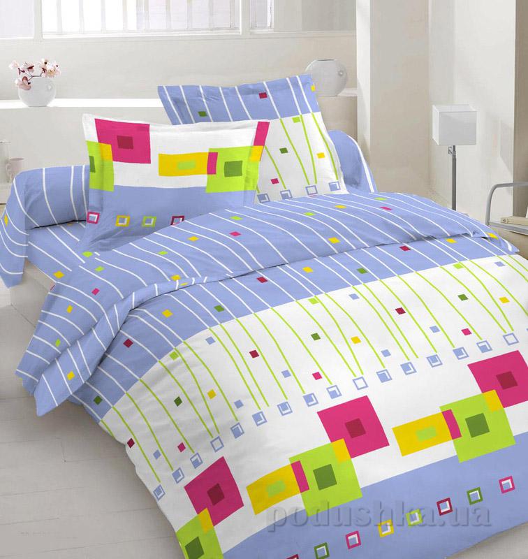 Комплект постельного белья TM Nostra Бязь Голд бело-голубой геометрия