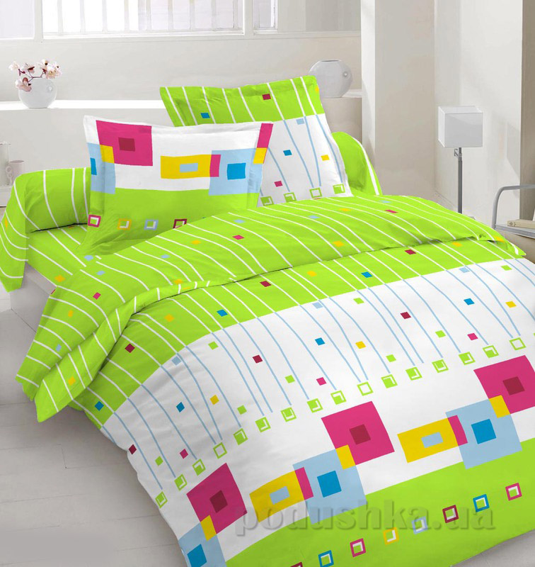 Комплект постельного белья TM Nostra Бязь Голд бело-салатовый геометрия