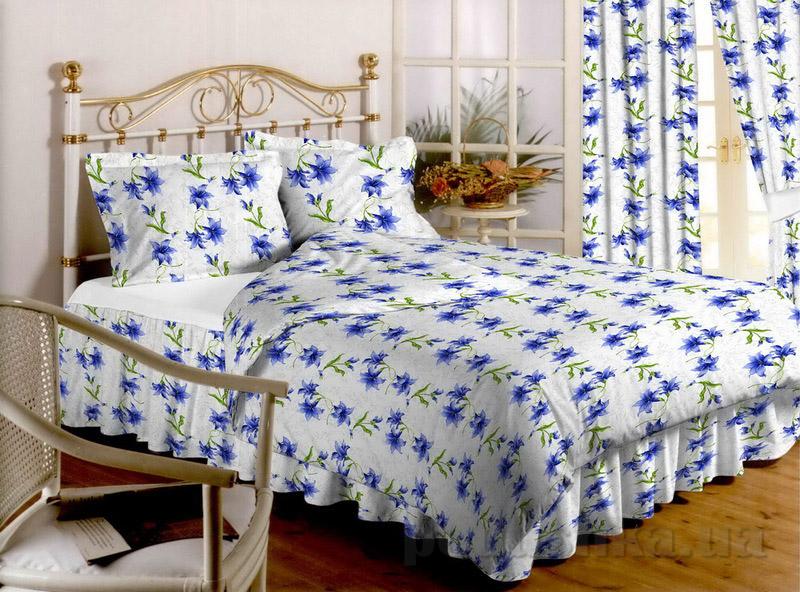 Комплект постельного белья TM Nostra Бязь Голд бело-синие лилии Двуспальный евро комплект  TM Nostra
