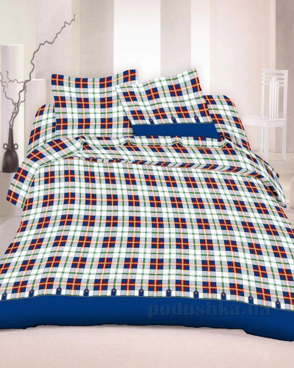Комплект постельного белья TM Nostra Бязь Голд бело-синяя клетка Двуспальный евро комплект  TM Nostra