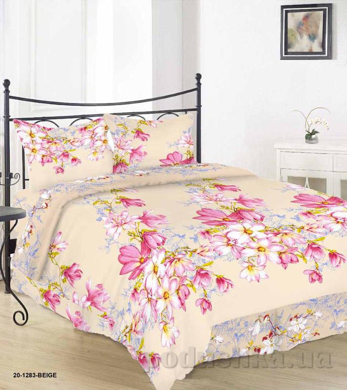 Комплект постельного белья TM Nostra Бязь Голд бежево-розовые цветы