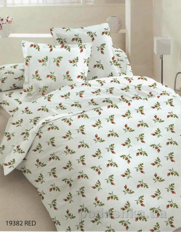 Комплект постельного белья TM Nostra Бязь Голд бежево-зелено-красные веточки Двуспальный евро комплект  TM Nostra
