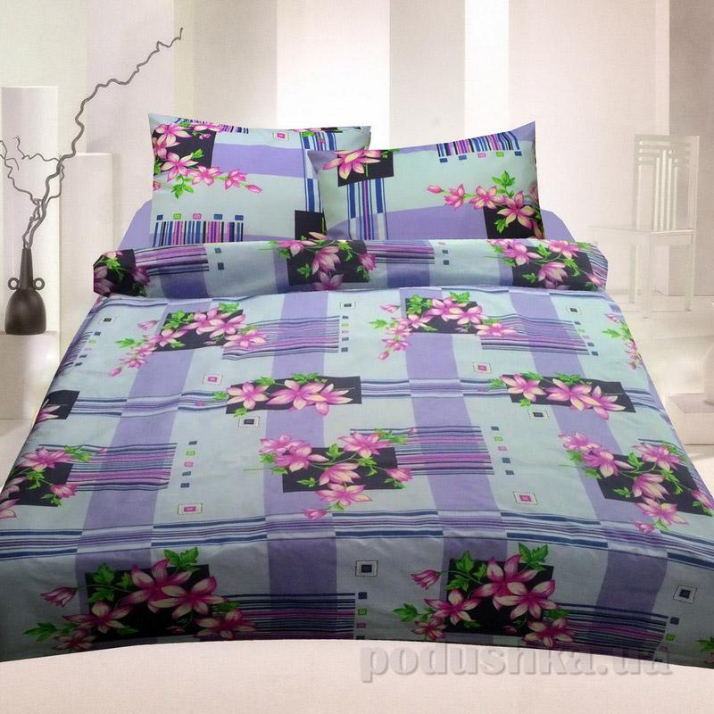 Комплект постельного белья TM Nostra Бязь Голд фиолетово-розовый цветы-геометрия Двуспальный евро комплект  TM Nostra
