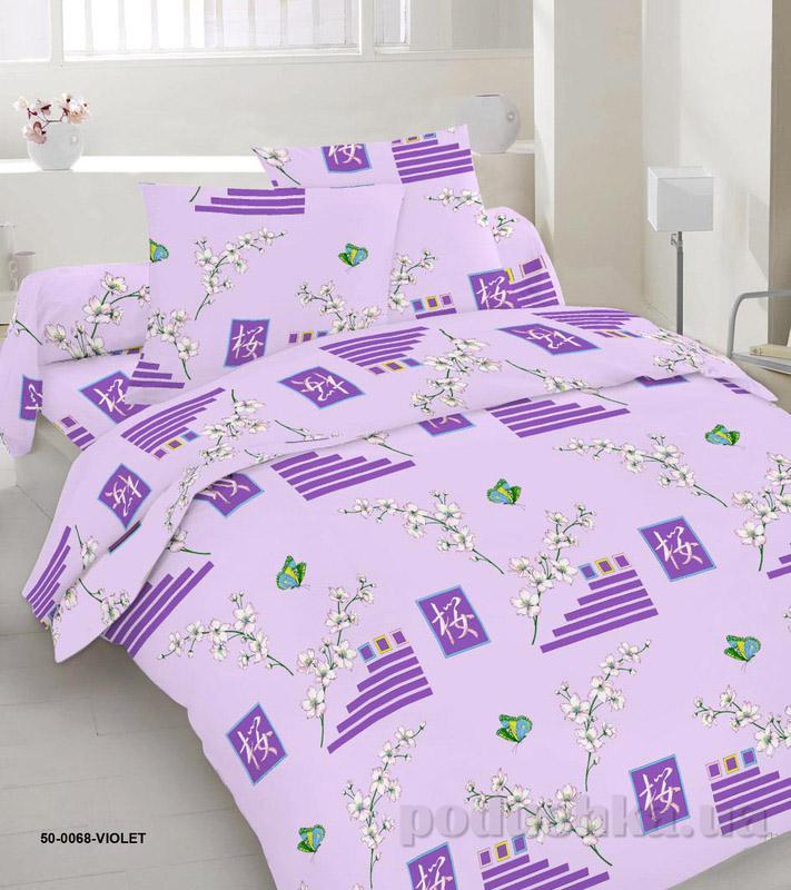 Комплект постельного белья TM Nostra Бязь Голд фиолетово-желтый геометрия-веточки