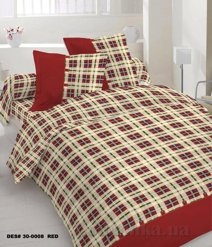 Комплект постельного белья TM Nostra Бязь Голд красно-бежевая клетка Двуспальный евро комплект  TM Nostra
