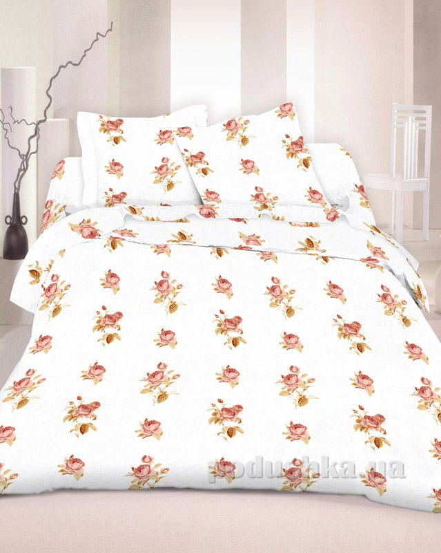 Комплект постельного белья TM Nostra Бязь Голд молочный комбинированный с розами Двуспальный евро комплект  TM Nostra