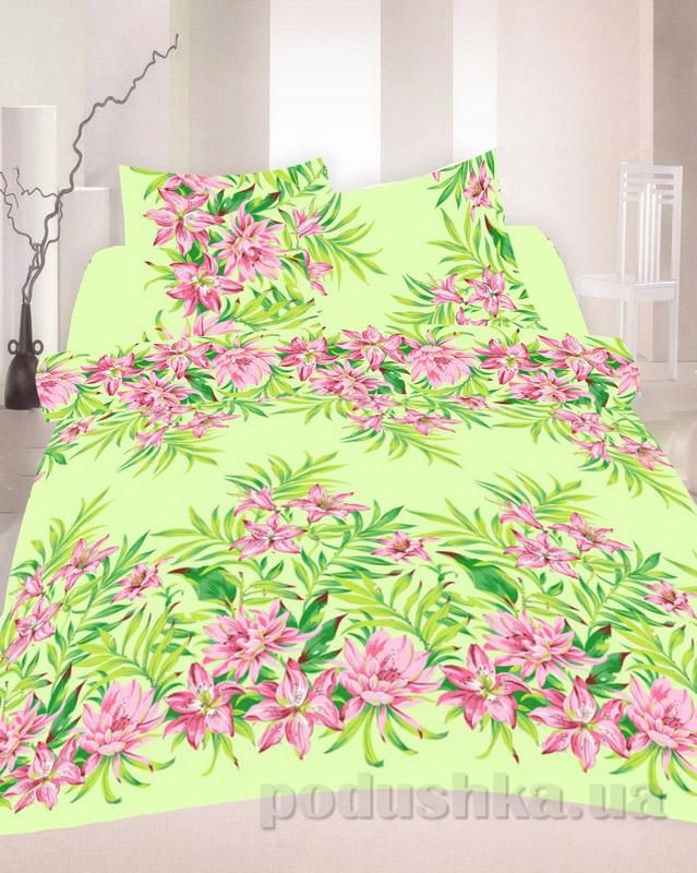 Комплект постельного белья TM Nostra Бязь Голд салатово-розовые цветы Семейный комплект  TM Nostra